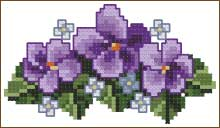 Violet pattern hand cross stitch tehnique